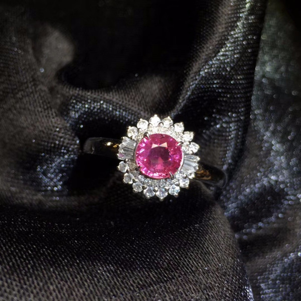 Fine Jewelry GFCO Real 18K White Gold 100% Natural Unheat Pink Sapphire 0.8 Gemstones 18k Sapphire Diamonds Female Wedding Rings