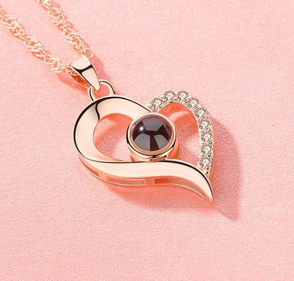 Projection 100 Languages I Love You Elegant Heart Pendant Necklaces Solid 925 Sterling Silver Jewelry for Women Valentine Gift