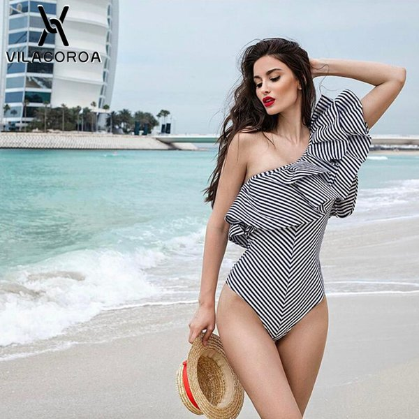 2019 Ropa de verano para mujer Traje de baño de una pieza con volantes a rayas sexy Ropa de playa Traje de baño de un hombro Trajes de baño Body Swim