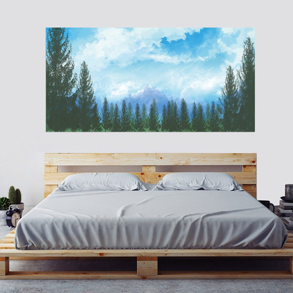 2pcs/set 3D Mountain Blue Sky Tree Landscape Bedside Art Mural Sticker Home Decor Bedroom Wall Sticker PVC Self-adhesive Poster
