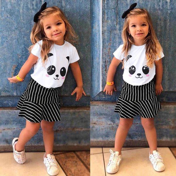 Cartoon Panda Print Short Sleeve T-Shirt Tops + Striped Pant Kids Baby Girls Clothing Sets Summer Outfits vetement enfant fille