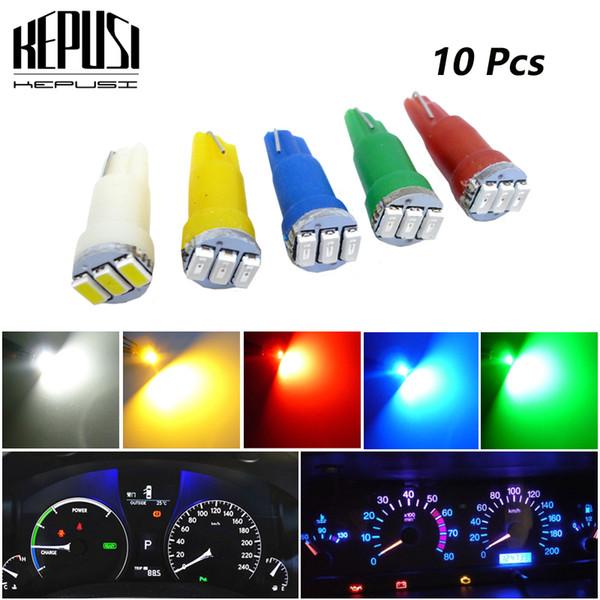 10PCS White 58 70 73 74 T5 Dashboard Gauge 3 3528 SMD LED 6000K Wedge Bulb Light