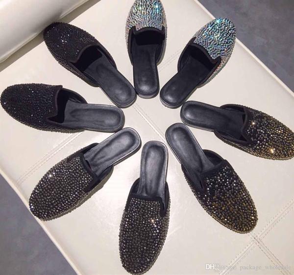 mode 2019 nouvelles femmes pantoufles en cuir véritable décoration de diamants style européen et américain contracté loisirs mocassins femmes chaussures