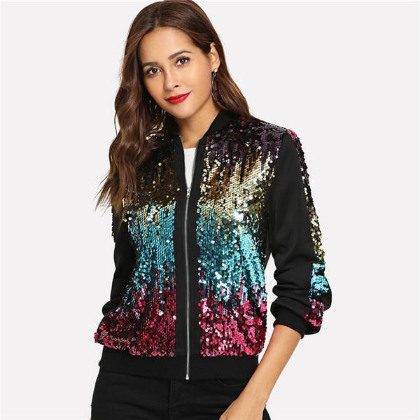 últimos diseños diversificados gran variedad de Nuevos objetos Compre Casual Zip Up Chaqueta De Lentejuelas Básica Mujer Otoño Highstreet  Bomber Jacket Coat Mujeres Feminino Abrigos Outwear Ropa A $65.72 Del ...