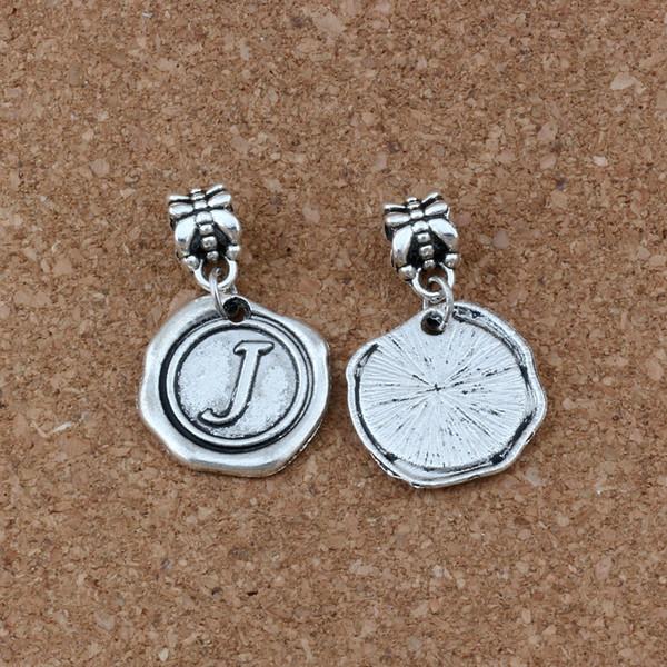 """Single side Letter Disc """" J"""" Alphabet Initial Dangle Bead fit European Charm Bracelets DIY Accessories 18x30.5mm 50pcs Antique silver A-474a"""