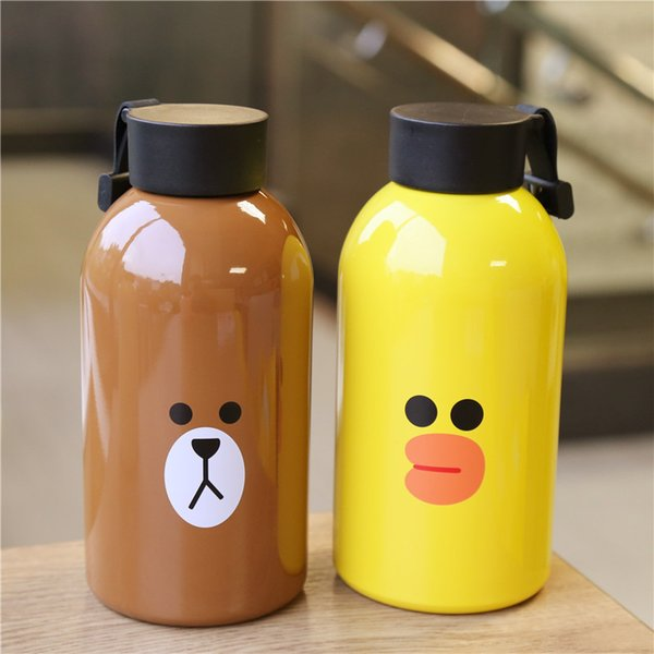 Творческий мультфильм животных Emoji стакан из нержавеющей стали изоляции Кубок высокой емкости дети открытый спорт бутылки воды 21md Ww