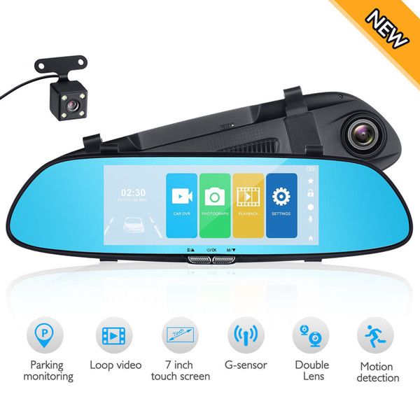 Car DVR Full HD 1080P 7.0 Inch IPS Touch Screen Recorder Camera Dual Lens with Rear View Camera Auto Registrator Dash Cam