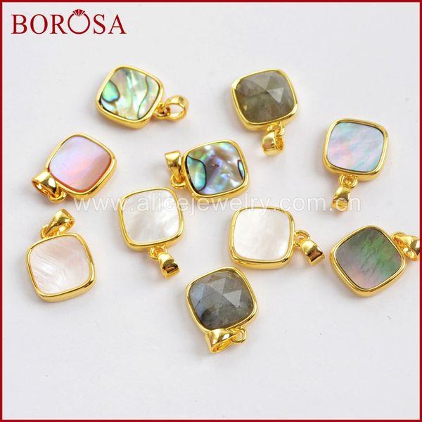 BOROSA 10PCS Square Multi-kind Faceted Druzy Stones Pendants Gold Color Natural Labradorite Shell Pendant Beads Jewelry WX986