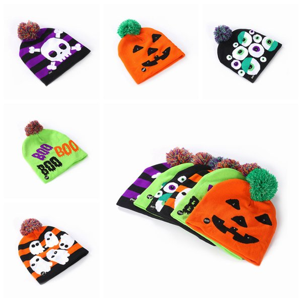 Wholesale-Led Halloween Knitted Hats Kids Baby Moms Warm Beanies Crochet Winter Caps For Pumpkin Acrylic skull cap party decor gift props