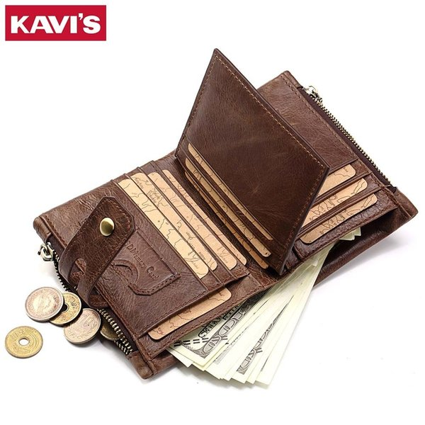 Genuine Leather Men Wallet Coin Purse Small Male Cuzdan Walet Portomonee Rfid Portfolio Vallet Money Bag Card Holder Perse