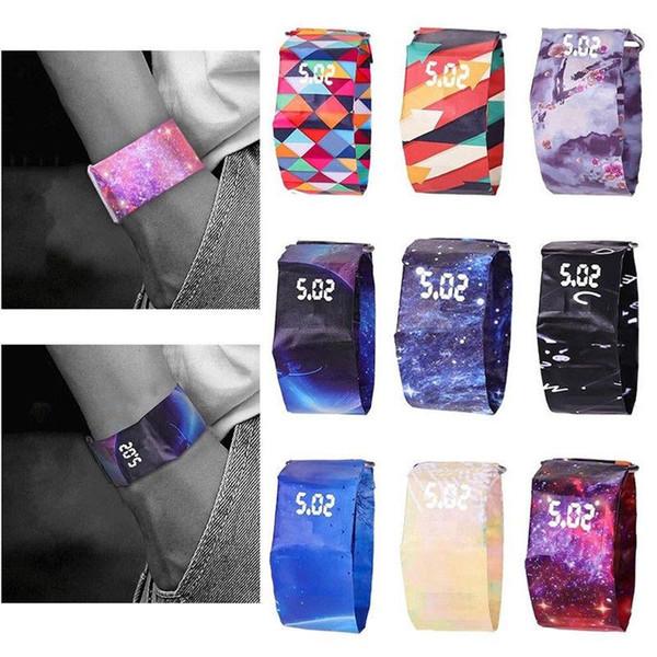 Creative Paper Watch 36styles LED Waterproof print Paper Strap Digital Magic Wrist Watche colorsful newspaper Novelty watches AAA1671