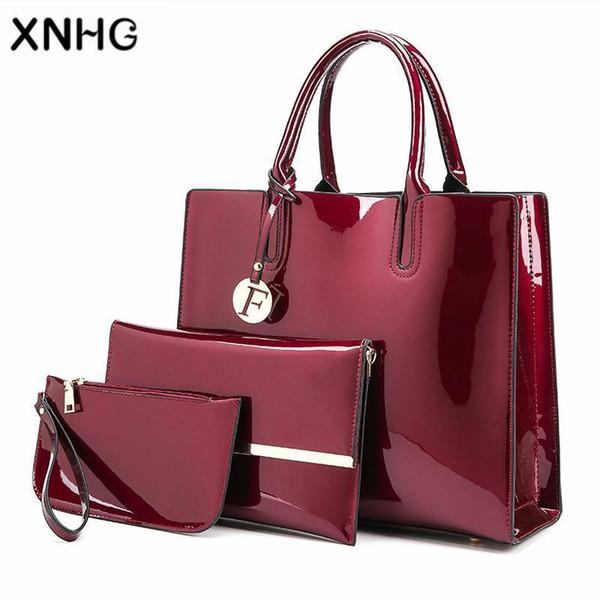 Fashion Composite Bag Lady Top-Handle Bags Patent Leather Luxury Handbags Women Bags Designer Women Messenger Female SAC