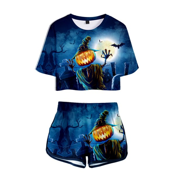 New Halloween 3D Two Piece Set Top and Pants Short Sets for Women Funny Print Fashion Women Sets Clothes Tracksuit Summer Suit