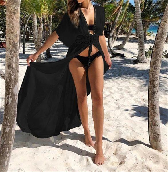 Beachwear Pareo Beach Dress Saida De Praia Long Kaftan Beach Cover Up Tunics For Swimsuit Cover Up Women Swimwear