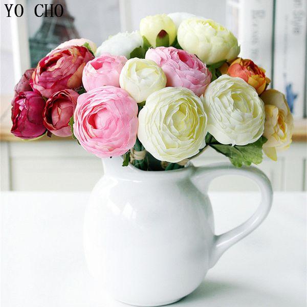 YO CHO Bridesmaid Bouquet Flower Artificial Silk Flowers 10 Heads Rose Lotus Flower Arrangement Handmade Home Party Decor Wedding Bouquet