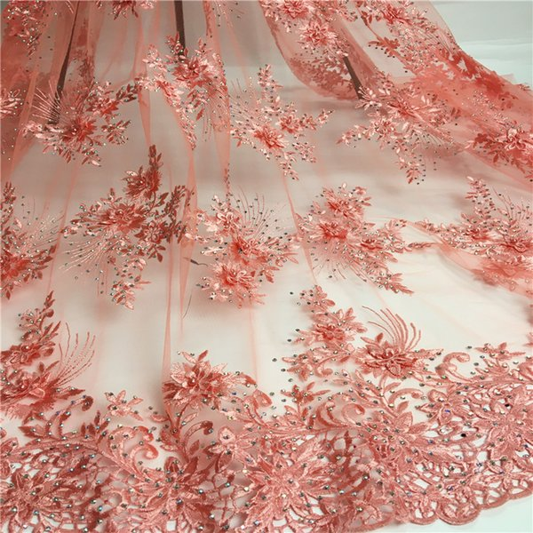 (5 yards / pc) bella tessuto di pizzo netto francese ricamato africano guipure tulle pizzo con pietre per il vestito da partito jsd01