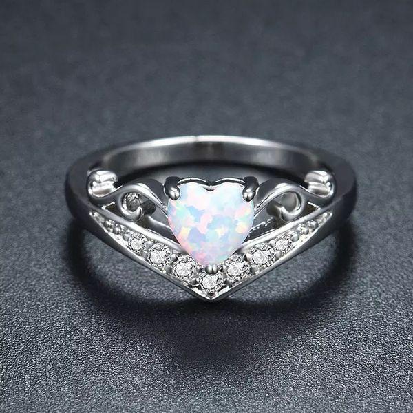Corazón Ópalo Anillos de Dedo Para Las Mujeres Hada Piedra Azul Plateado Anillo de Joyería de Moda Joyería Romántica de Compromiso