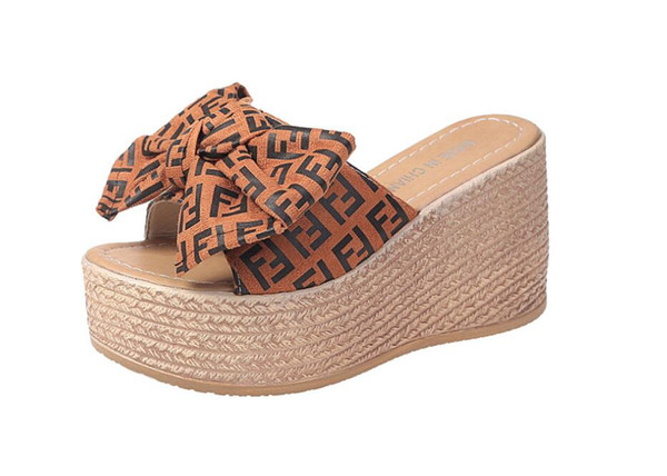 Platform Wedge Slippers High Heels Women Slipper Ladies Shoes Cork Butterfly-knot Wedges Slipper Flip Flop Sandals