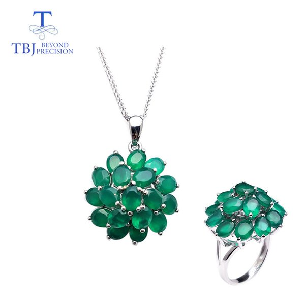 TBJ,natural green agate with ring and pendant in 925 sterling silver jewelry simple classic elegant design for women lady gift