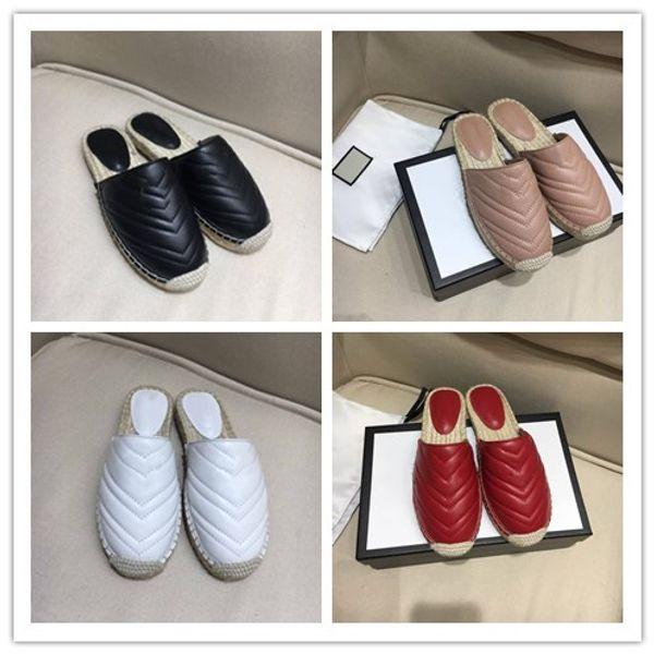 Fashionable Genuine Leather Double hardware slipper Italy Designer chevron pattern Cord platform Comfort Espadrilles Slip on Scuffs