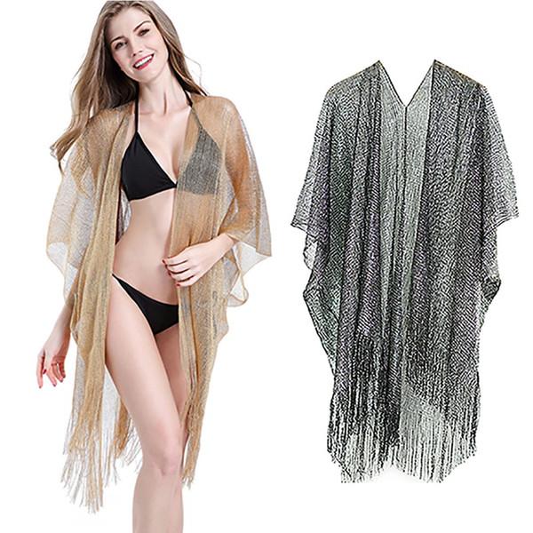 Las mujeres para protegerse del sol bikini traje de baño atractivo del delantal de la borla del chaleco Beach Cover Up Loose Mar Beach atractiva del oro Ropa Nueva