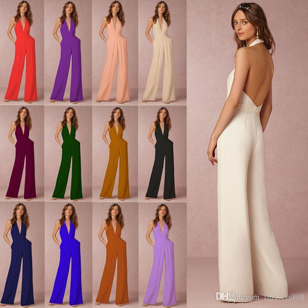 Casual jumpsuit business explosions sexy sleeveless hanging neck jumpsuit ladies pants suit