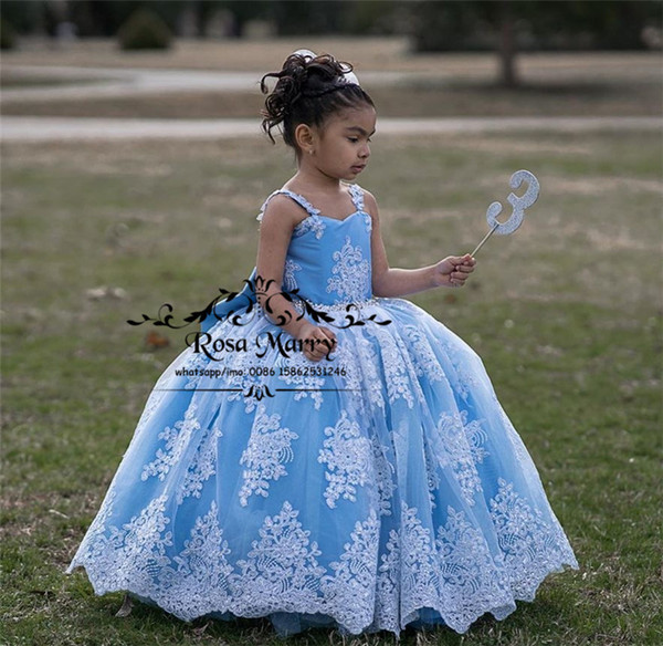 Princess Ball Gown Flower Girls Dresses For Weddings 2020 Vintage Lace Crystals Girls Brithday Pageant First Holy Communion Gowns Knot Bow