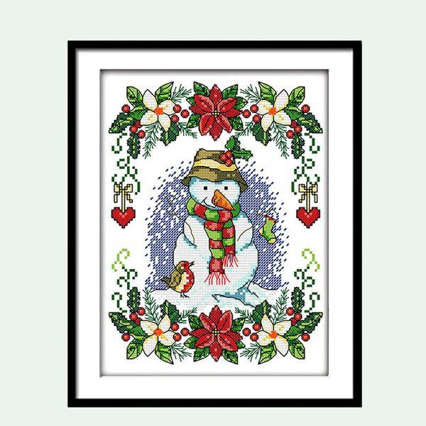 Weihnachten Schneemann Cartoon Muster Kreuzstich 11 14CT Stickerei Kits DIY Handarbeit DMC Kleine Malerei Geschenk Wanddekor