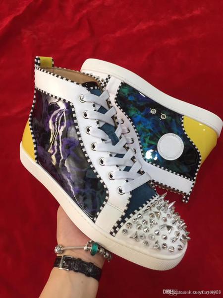 Novo Design de Luxo Genuíno Couro Vermelho Inferior Sapatos Homens e Design de Moda de Luxo Amantes de Festa de Couro Genuíno Sapatilhas Sapatos Coloridos Spikes
