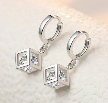 New silver-plated earrings white copper and diamonds earrings square shape fashion wild simple elegant retro casual