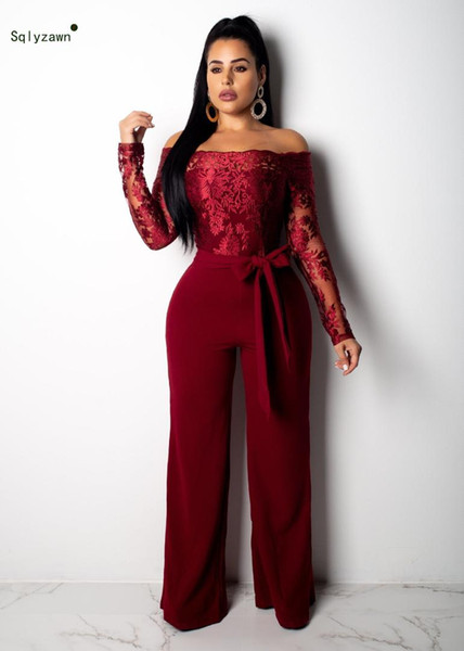 Off The Shoulder Sexy Lace Jumpsuit Women Floral Embroidery Long Sleeve Wide Leg Romper Elegant Sashes Backless Bandage Overall