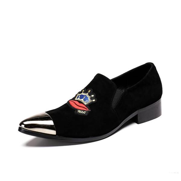 Mode Männer Schuhe aus echtem Wildleder Metall Toe Party Business Kleid männlich paty prom Schuhe Beleg auf männlich formale Schuhe plus Größe