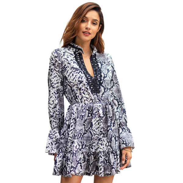 Diseño original transfronterizo explosión mujer 2019 nuevo leopardo temperamento conmutar vestido de gran tamaño