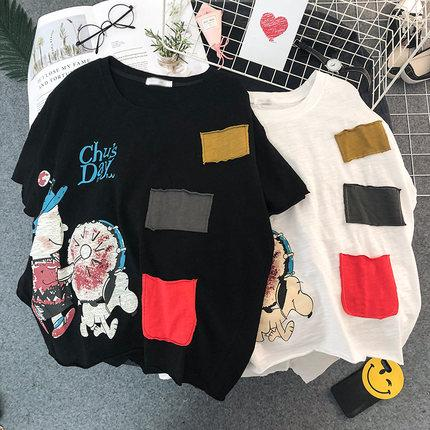 20190322 Best-selling Cartoon Tri-color Printed Summer Suit Large Size Half-sleeve T-shirt Top