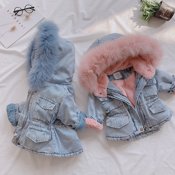 best selling Dollplus 2019 Winter Coat for Girl Kids Keep Warm Thick Denim Coats Children Clothing Girls Outerwear Cotton Baby Jacket Clothes