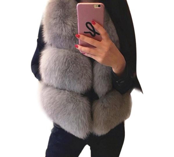 Plus Size 3XL 2018 Fashion Luxury Women Vests Jacket Winter Basic Coat Artificial Fur Brand Ladies High Quality Warm Coats