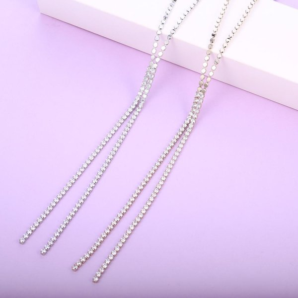 Luxury Cubic Zirconia Line Chain Long Necklace For Women Fashion Jewelry Wedding Party Necklace Anniversary Gifts 2019 Dropship