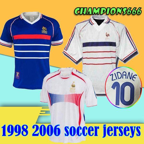 1998 FRANCE RETRO VINTAGE soccer jerseys ZIDANE HENRY MAILLOT DE FOOT 2006 France thailand quality uniforms football Jerseys shirt
