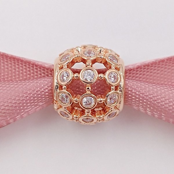 Аутентичные стерлингового серебра 925 пробы розового золота в центре внимания прозрачный Cz очарование подходит европейский пандора стиль ювелирные браслеты 780825CZ покрытием
