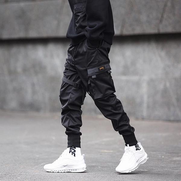 Hombres cintas patchwork multi bolsillos hip hop pantalones de carga pantalones tácticos negros para hombre casual joggers delgados hiphop punk pantalones
