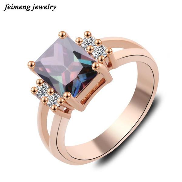 2017 Señora aristocrática incrustaciones de circón cuadrados azules anillos cristalinos de moda para señora Rose de la joyería mujeres de color oro anillos de compromiso