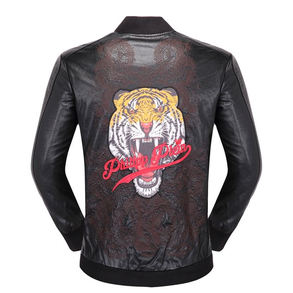 top popular 2019 Skeleton Men Top PU Quality Slim Fitness Leather Jacket Man woman Famous Brand With Hoody zipper Leather Clothes Winter Male Outerwear 2019