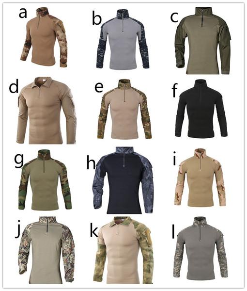 Primavera Outono Europa China EUA Camuflagem Do Exército Camuflagem Militar Camisa Multicam Uniforme Militar Camisa Quick Dry Caça lapela Roupas Táticas