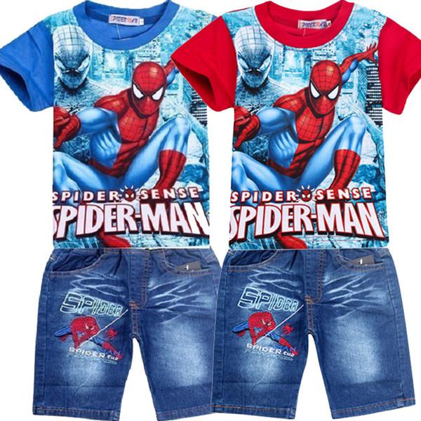 Jungen tragen Sommer Junge Cartoon Spiderman Kurzarm T-Shirt + Jeans Set Sport Zweiteiler One Generation