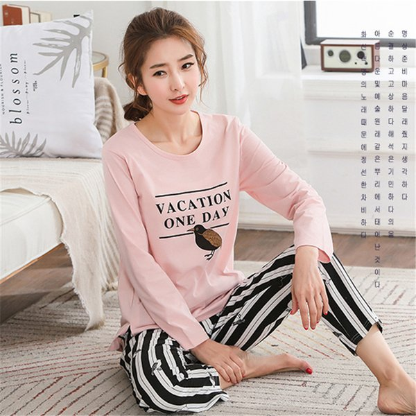 Pyjamas Women 2018 Autumn Long Sleeve Cotton Home Clothes Women Night Suit Two Piece Plus Size Sleepwear Ladies Pajamas Set 5xl J190613