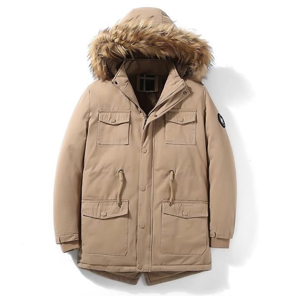 Winter Parka Männer starke warme Jacke beiläufige mit Kapuze Pelzkragen Wolle Liner Winter-Mantel Männer Windjacke Mittel lange Kordelzug Parka