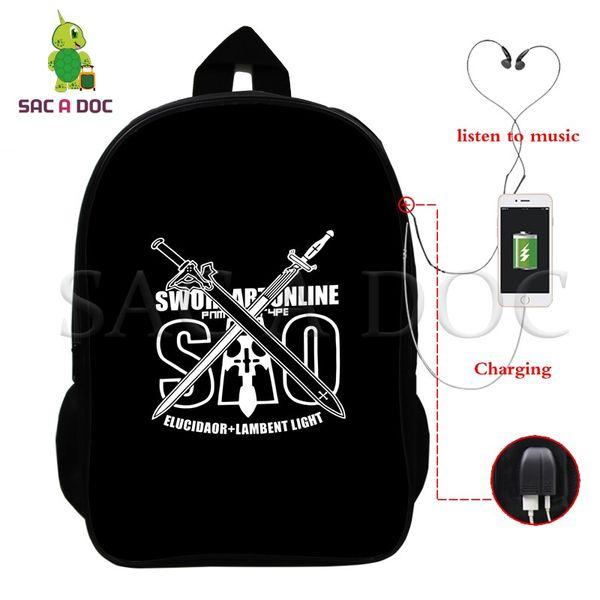 Меч искусства онлайн SAO рюкзак многофункциональный USB зарядки ноутбук рюкзак для подростков студентов случайные рюкзак школьные дорожные сумки