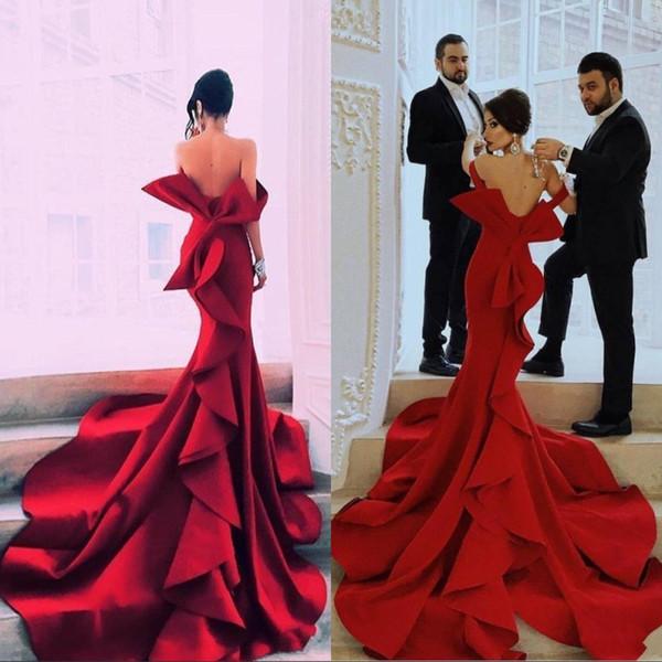 Red Mermaid Portrait Fabulous Prom Kleider Sexy Off Shoulder Big Bow Backless Promi Party Kleider Dubai Satin Kapelle Zug Abendkleider