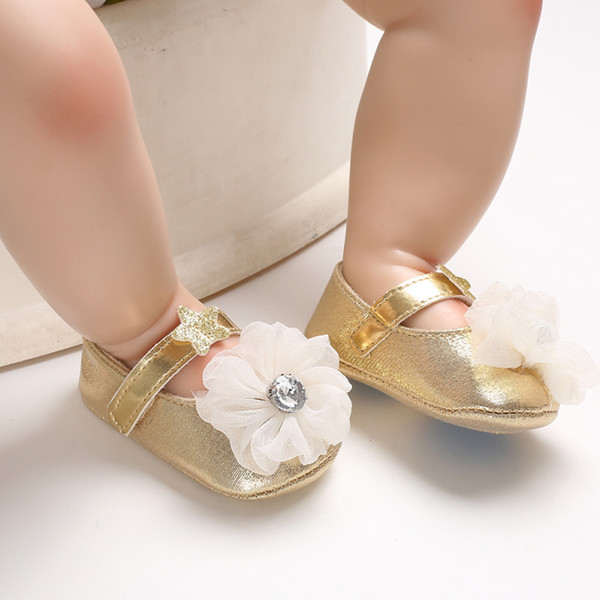 Fashion Sequin Baby Girl Princess Shoes Hot Girl First Walkers Gold Bling Baby shoes With Big Bow Flower For 0-18 Month