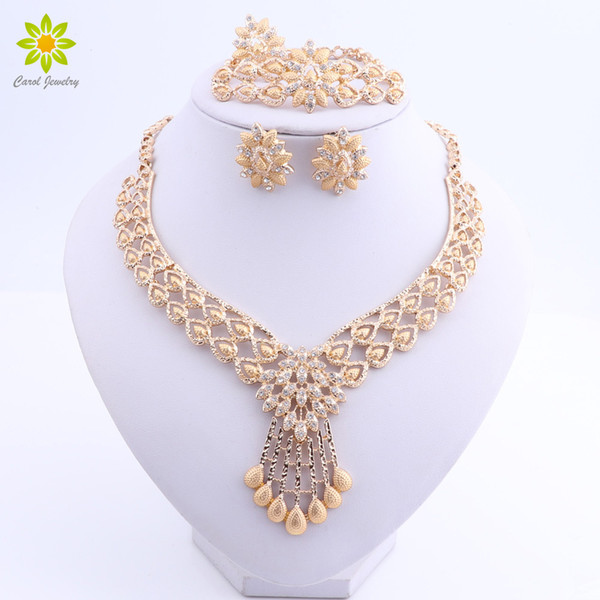 Fashion African Jewelry Set Nigerian Wedding Dubai Gold Plated Jewelry Sets for Women Best Bridal Gifts Flower Necklace Set